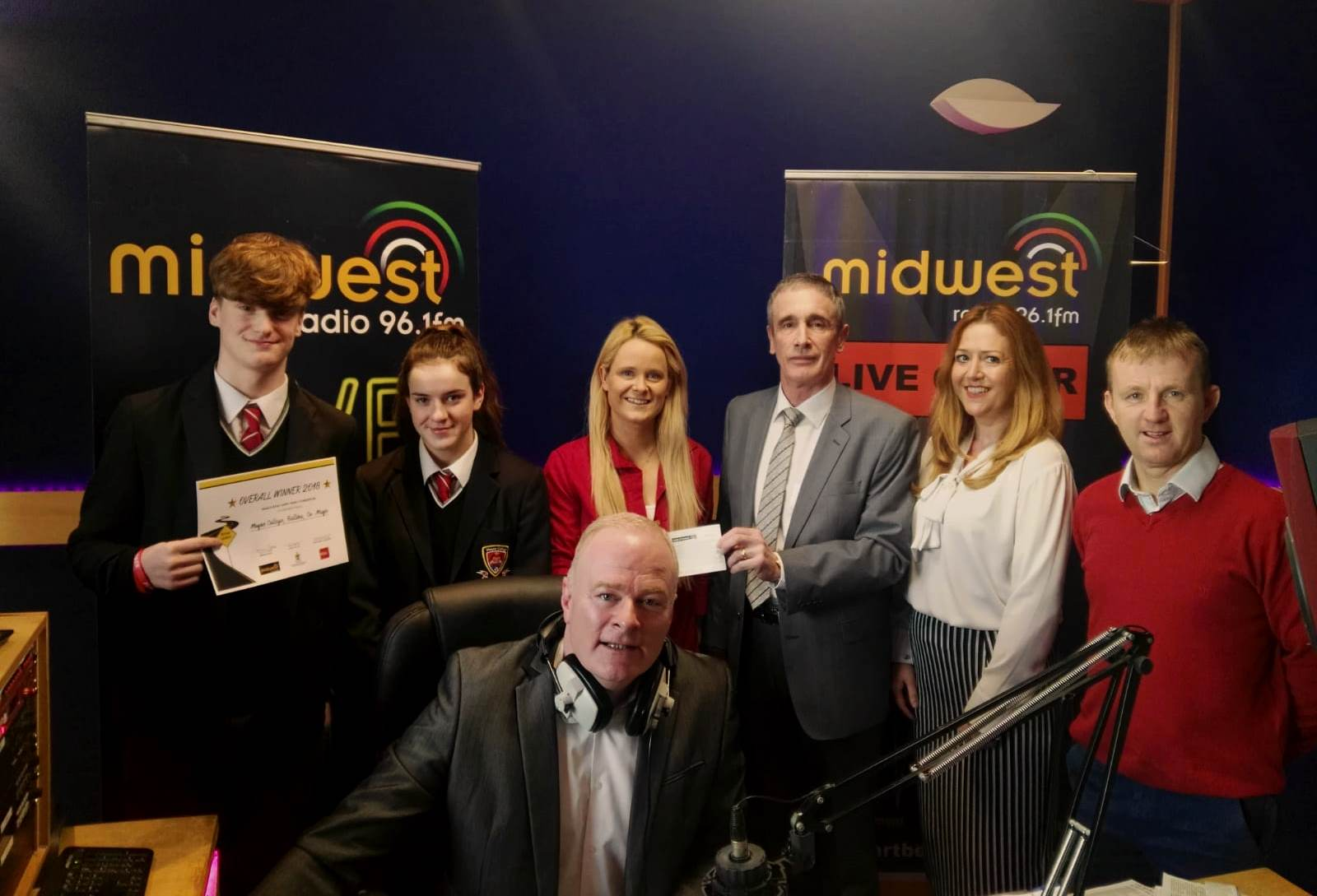 Midwest Radio present Cheque to Staff and Students as winners of the Mayo Co Co and Road Safety Authority Ad competition